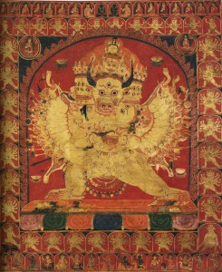 13.12.11.Mahāvajrabhairava in sexual union with his consort, Tibet sixteenth century (formerly on the American market)