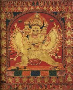 13.12.11.Mahāvajrabhairava en union sexuelle avec sa parèdre, Tibet XVIe siecle (autrefois sur le marché américain)