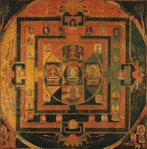 13.12.11.Maṇḍala des cinq tathāgata, pigments sur toile, Tibet, Xe siècle (?). (autrefois dans le commerce britannique)