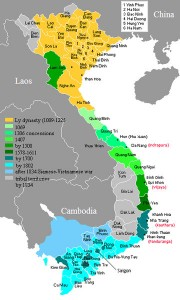 Territorial expansion of Vietnam from Ly Dynasty to early Nguyen Dynasty.