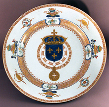 3.Plat with arms of France (Louis XV) - Porcelain, China, Jingdezhen, towards 1730 © G. Boudic - Museum of the East India Company - City of Lorient