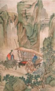Lao Zi à la passe de Hangu -Dynastie Qing-Feuille d'album, encre et couleurs légères sur soie.©Musée Guimet