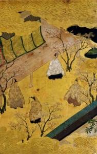 B.Genji Monogatari.Ch.34.Entourage de Tosa Mitsuyoshi.Encre et couleurs sur papier.Elément d'un paravent.British Museum