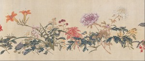 B.Ju Lian.A hundred flowers.Encre et couleurs sur soie.Hong Kong Museum of Art