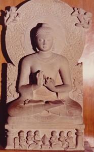 Bouddha, premier sermon.Gupta.Ve s.Sarnath