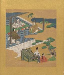 Genji Monogatari.Ch.1.Tosa Mitsunori.Feuille d'album.Encre et couleurs sur papier.National gallery Melbourne
