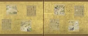 B.Genji Monogatari.Portes coulissantes ornees defeuilles album