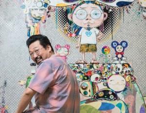 11.Takashi Murakami devant une de ses toiles. © 2013 Takashi Murakami:Kaikai Kiki Co