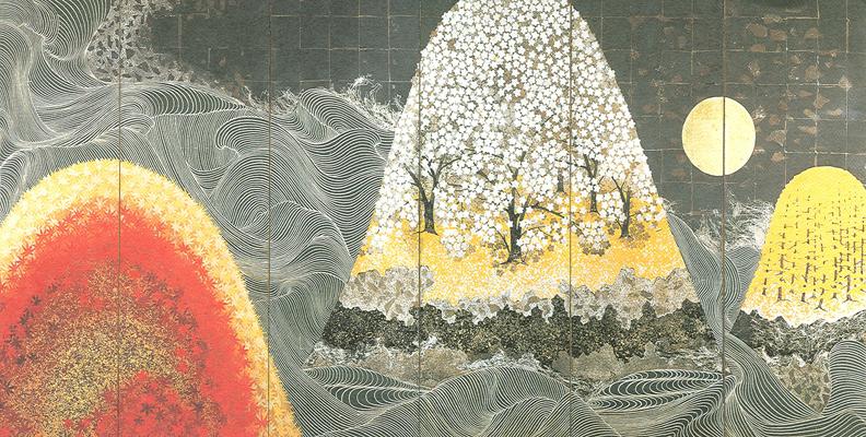 14.3.Kayama Matazo.Vagues au printemps et en automne.1966.Paravent.Encre, couleurs sur papier